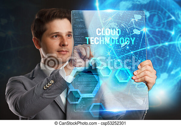 Business, Technology, Internet and network concept. Young businessman showing a word in a virtual tablet of the future: Cloud technology - csp53252301
