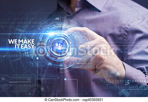 Business, Technology, Internet and network concept. Young businessman working on a virtual screen of the future and sees the inscription: we make it easy - csp40393931