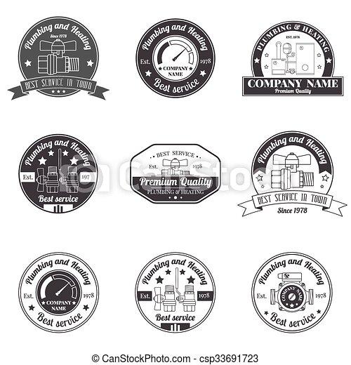 business, template., élégant, plomberie, concept, company., badges., ensemble, constitué, étiquettes, design., signe, chauffage, monochrome, vendange, logo, ton, identité, services - csp33691723