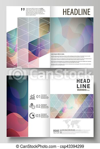Business templates for bi fold brochure, magazine, flyer, booklet or annual report. Cover design template, flat style vector layout in A4 size. Colorful pattern with shapes forming abstract background - csp43394299