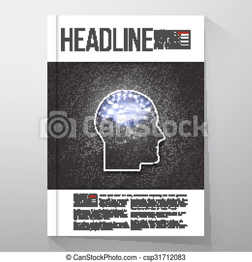 Business templates for brochure, flyer or booklet. Concept of human thinking. Dark design vector illustration - csp31712083