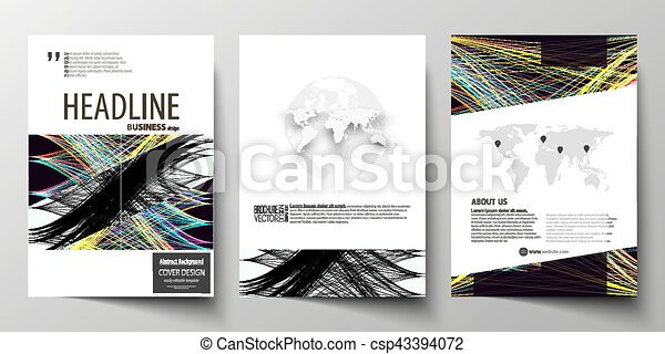 Business templates for brochure, magazine, flyer, annual report. Cover template, easy editable vector, flat layout in A4 size. Abstract waves, lines and curves. Dark color background. Motion design. - csp43394072