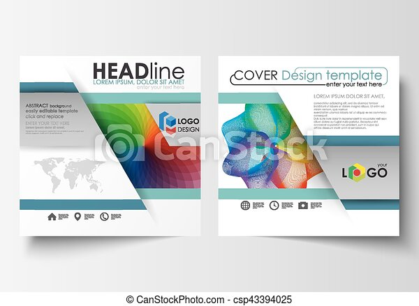 Business templates for square brochure, magazine, flyer, annual report. Leaflet cover, flat layout, easy editable vector. Colorful design background with abstract shapes and waves, overlap effect. - csp43394025