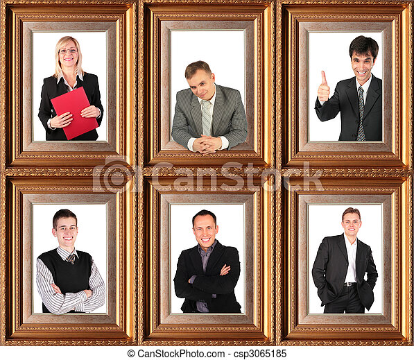 business themed collage, Framed half-length portraits of six successful bussinessmen - csp3065185