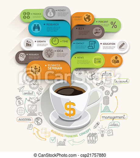 Business thinking concept. Coffee cup and bubble speech template. Can be used for workflow layout, banner, diagram, web design, infographic template. - csp21757880