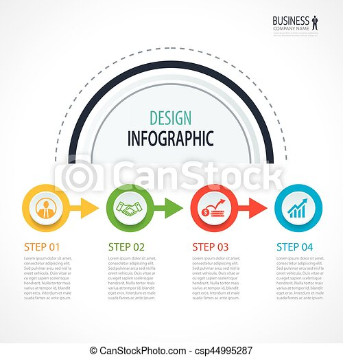 business timeline infographics with 4 circles steps number options