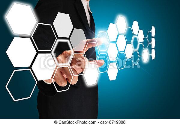 business, toucher, homme, écran, imaginaire - csp18719308