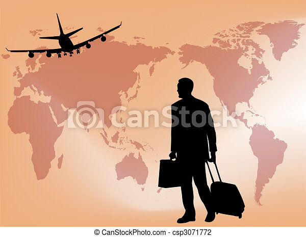 Business Travel Businessman Silhouette On A World Map As Symbol Of