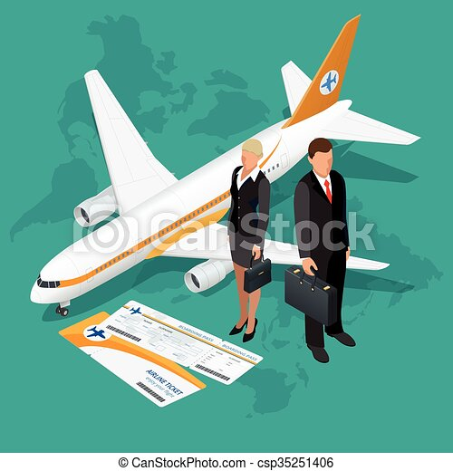 Business Travel Isometric Composition And Tourism Background Flat 3d Vector Illustration
