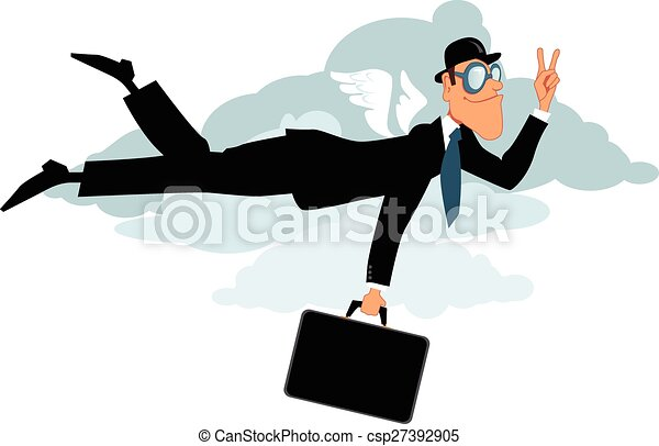 Business Travel Businessman In Bowler Hat And With A Briefcase