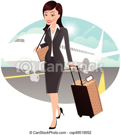 Business travel woman.eps. An image of a young ...
