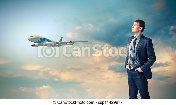 Business travelling collage with a plane - csp11429977