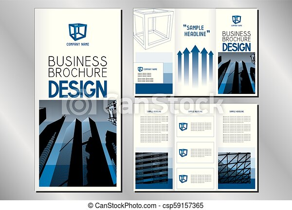 business trifold brochure template a4 to dl format modern office buildings skyscrapers
