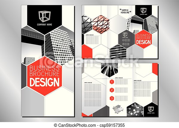 business trifold brochure template a4 to dl format modern office buildings skyscrapers red graphics