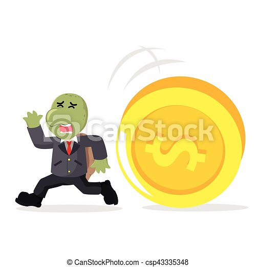 business turtle running from giant coin - csp43335348