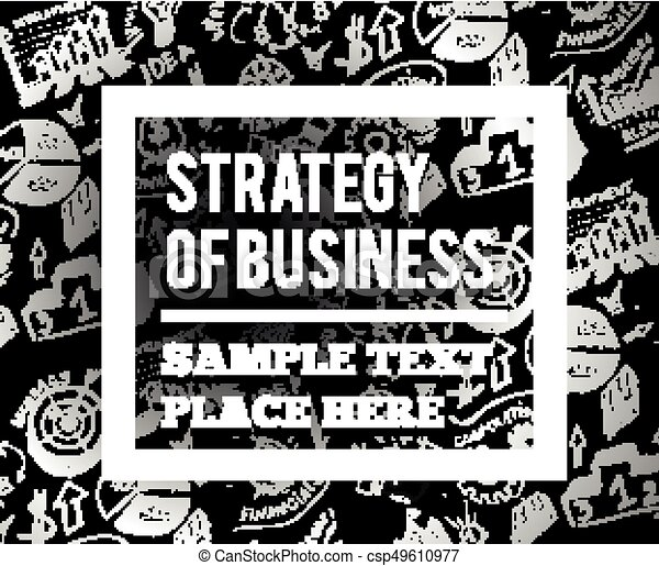 Business vector illustration with hand drawn symbols. - csp49610977