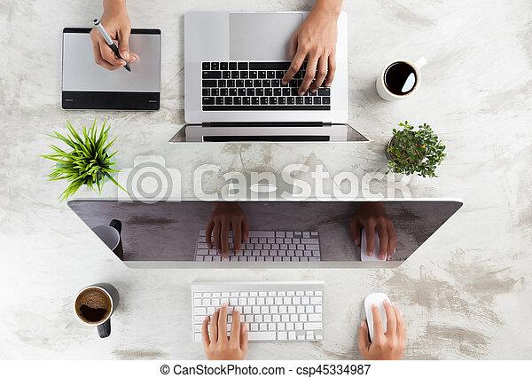 business, vue, sommet, fonctionnement, bureau - csp45334987