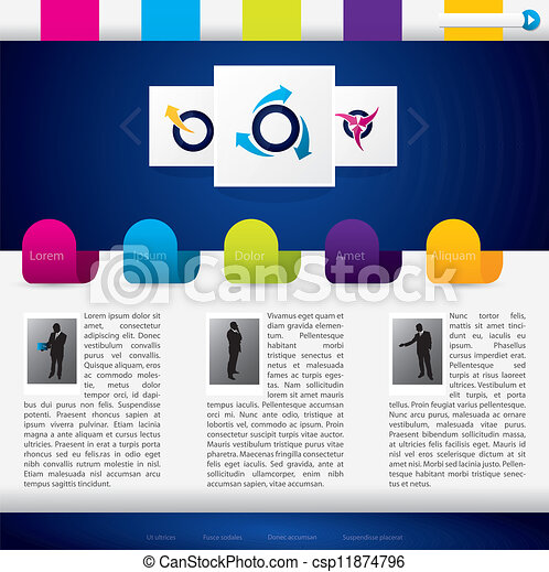 Business website template with colorful labels - csp11874796
