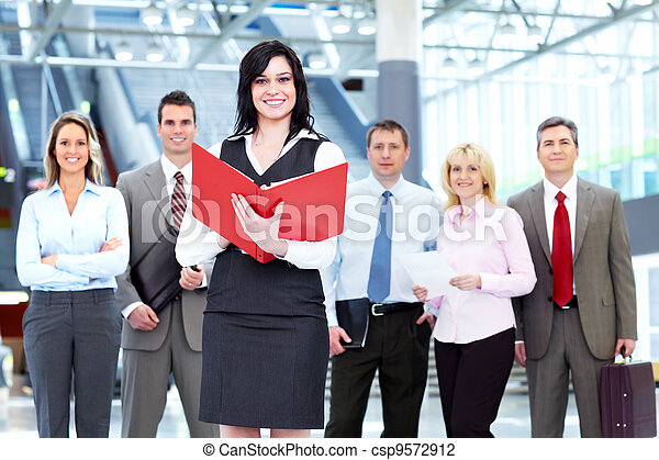 Business woman and a people group. - csp9572912