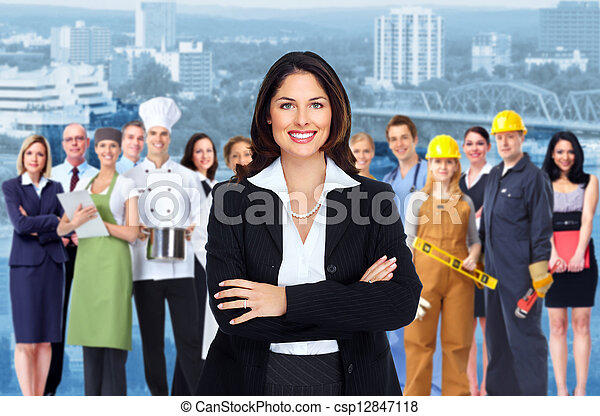 Business woman and group of workers people. - csp12847118
