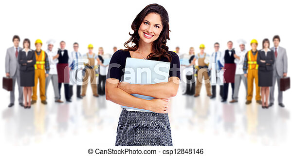 Business woman and group of workers people. - csp12848146