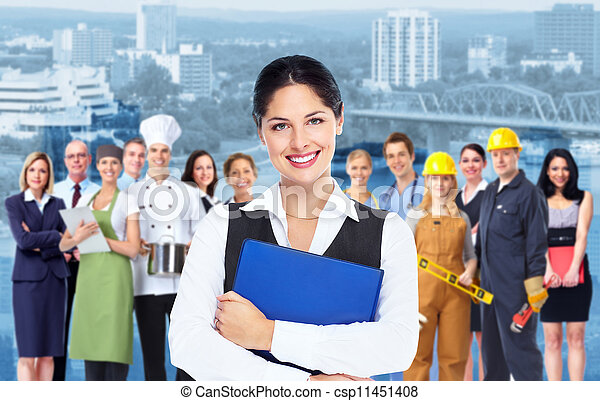 Business woman  and group of workers people. - csp11451408