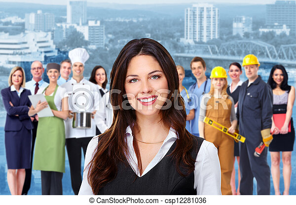 Business woman and group of workers people. - csp12281036