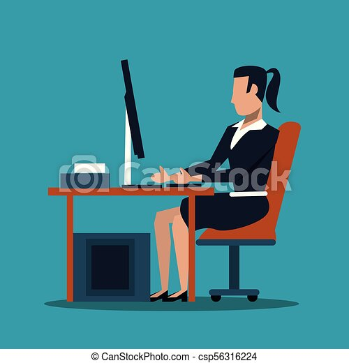 Business woman at office - csp56316224