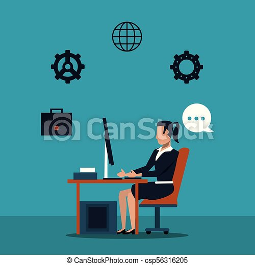 Business woman at office - csp56316205