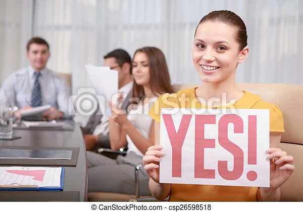 Business woman at the meeting - csp26598518