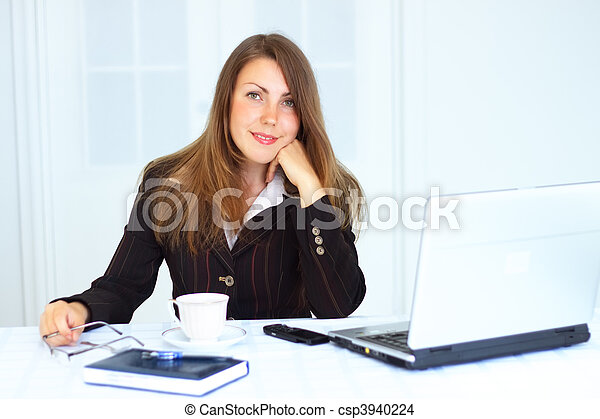 Business woman at the workplace - csp3940224