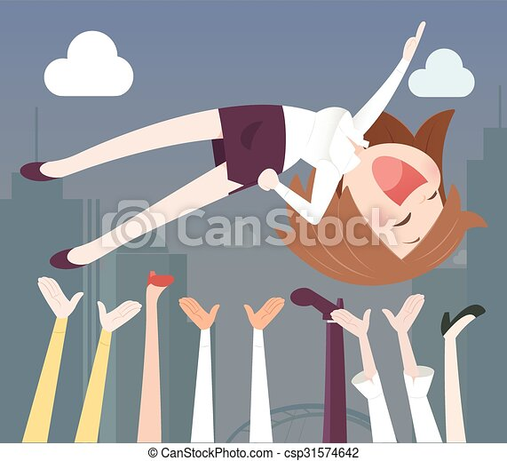 Business woman being thrown in the air - csp31574642