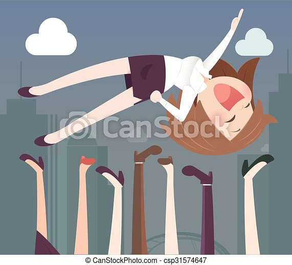 Business woman being thrown in the air - csp31574647
