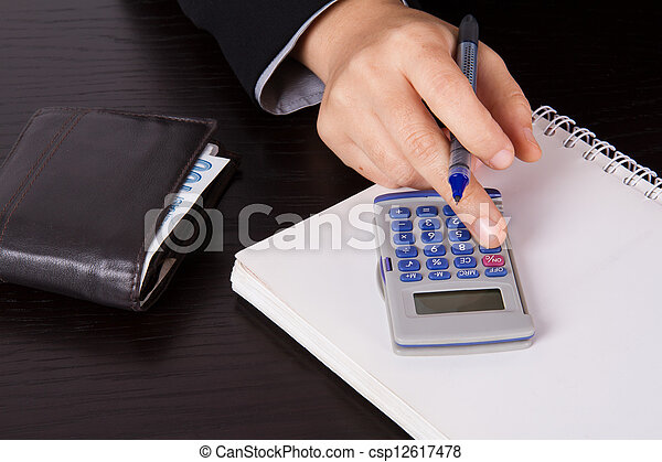 Business Woman Calculating - csp12617478