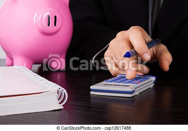 Business Woman Calculating - csp12617488