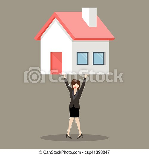 Business woman carry a heavy home - csp41393847