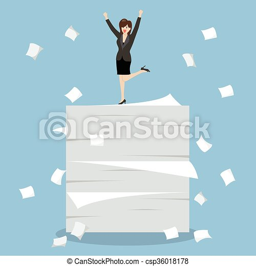 Business woman celebrating on a lot of documents - csp36018178