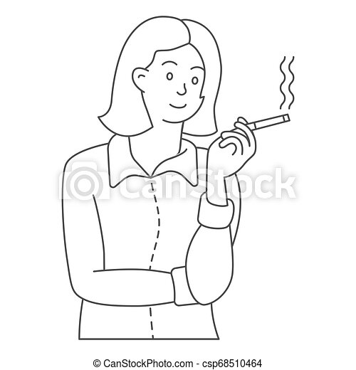 business woman character smoking bust shot. hand drawn style vector design illustrations. eps10. - csp68510464