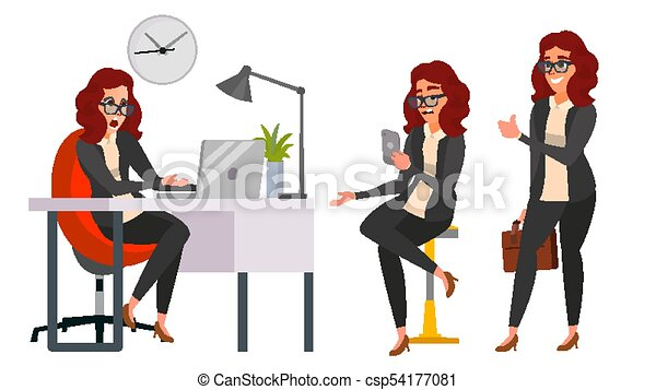 Business Woman Character Vector. Working Girl. Environment Process Creative Studio. Work Situations In Action. Girl Boss. Programming, Planning. Designer, Manager. Poses. Business Illustration - csp54177081