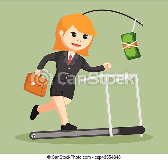 business woman chasing money on treadmill - csp43554848