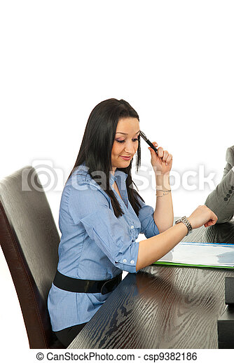 Business  woman checking watch - csp9382186