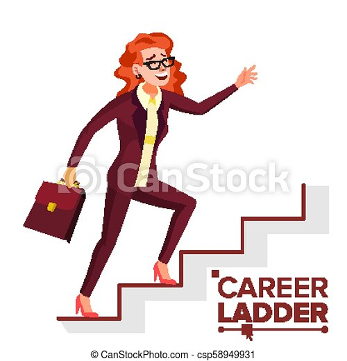business woman climbing career ladder vector fast growth stairs job success concept step by step isolated cartoon https www canstockphoto com business woman climbing career ladder 58949931 html