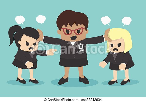 business woman conflict or arguing coworker in office - csp33242634