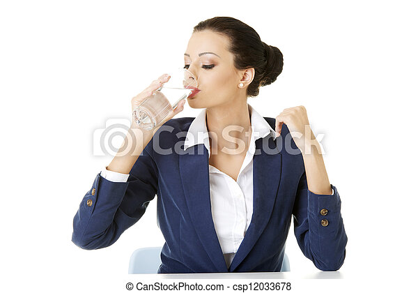 Business woman drinking mineral water - csp12033678
