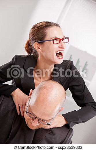 business woman driven insane hitting a man - csp23539883