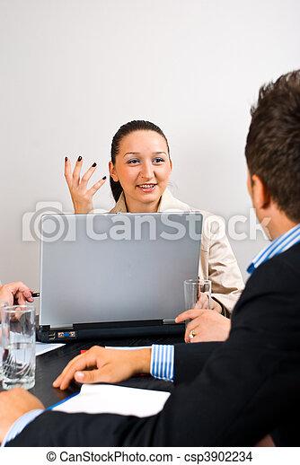 Business woman explaining at meeting - csp3902234