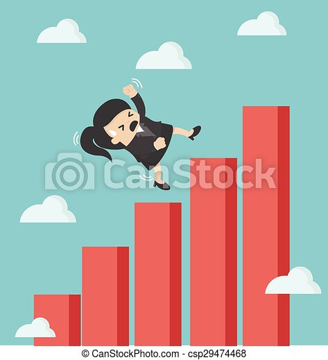 business woman falling down graphic chart - csp29474468