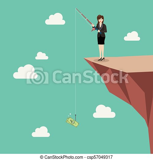 Business woman fishing money on hill - csp57049317