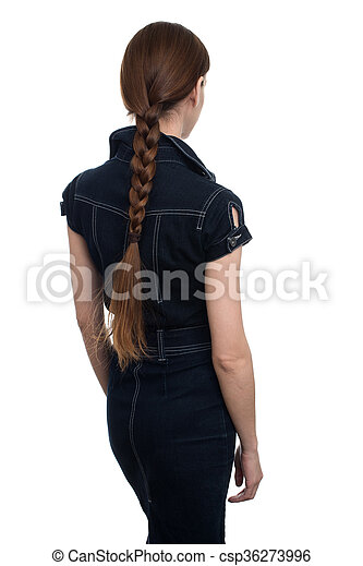 Business woman from the back looking at something - csp36273996