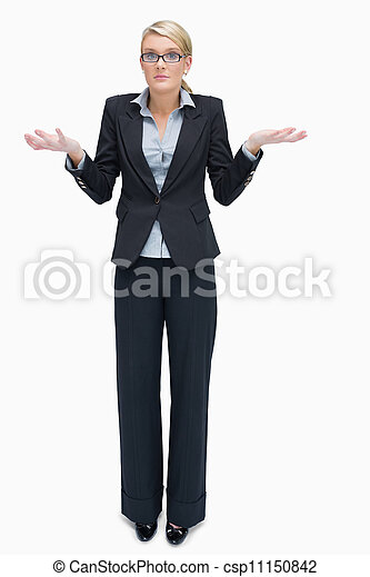 Business woman giving I don't know gesture - csp11150842
